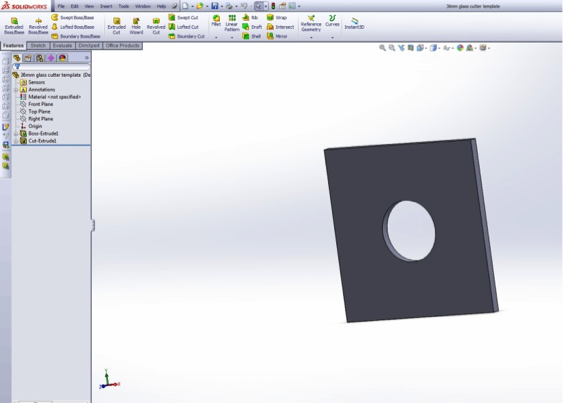 This screen capture shows one of the hole templates as it's being designed.